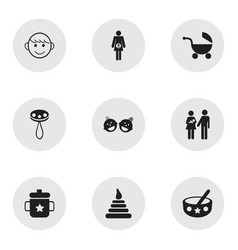 Set of 9 editable baby icons includes symbols vector