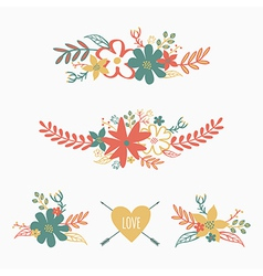 set of cute retro floral bouquets vector image