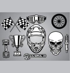 Set of motocross racing with skull vector