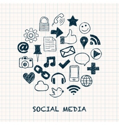 social media icons in circle vector image vector image
