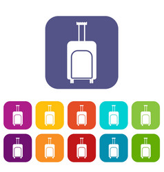 travel suitcase icons set vector image vector image