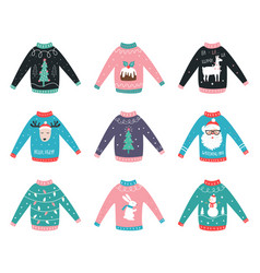 Ugly sweaters set for party invitations and vector
