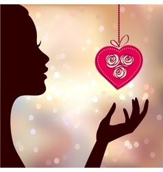 Valentines Day Card Background with Girl and Heart vector image