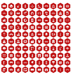 100 landscape element icons hexagon red vector