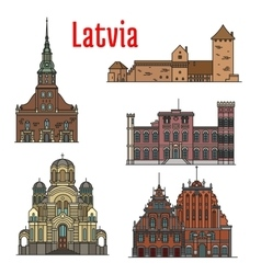 Latvia famous historic architecture icons vector