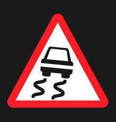 slippery road sign flat icon vector image