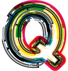 Colorful grunge font letter q vector