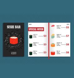 Colorful japanese bar menu template vector