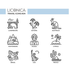 travel - modern flat line design icons set vector image