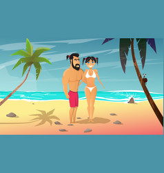 young man with girl rests on the beach vector image