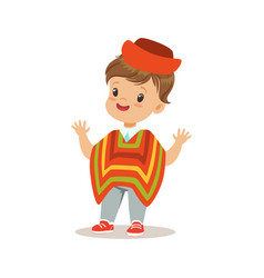 Boy wearing national costume of peru colorful vector