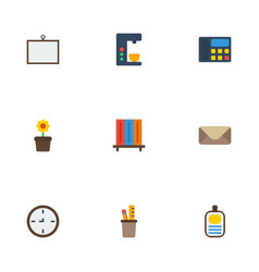 Flat icons watch whiteboard espresso machine and vector