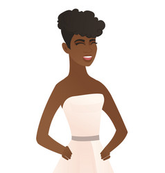 Young african-american fiancee laughing vector
