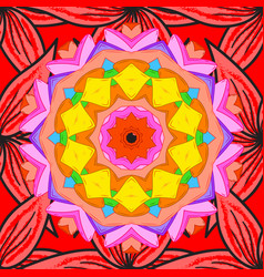 Indian flower mandala anti-stress mandala vector