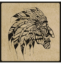 Tattoo native american indian chief vector