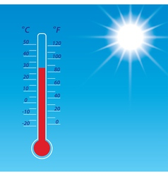 Blue sky with bright sun and thermometer vector