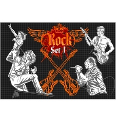 Rock-stars on rock concert - set vector