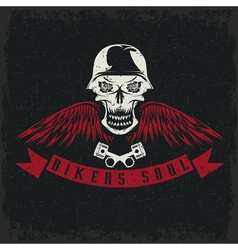 Grunge biker theme label with flowerswingspistons vector