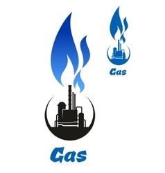 Gas processing black silhouette with blue flame vector