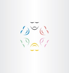 Color faces happy and sad mask icon vector
