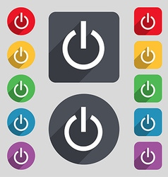 Power icon sign a set of 12 colored buttons and a vector