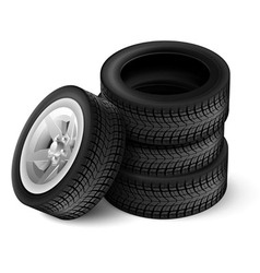 Black rubber car wheel vector