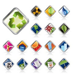 Realistic icon - ecology - set for web application vector