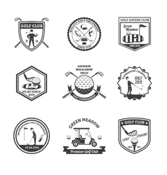 Golf black white emblems set vector
