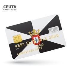 Credit card with ceuta flag background for bank vector