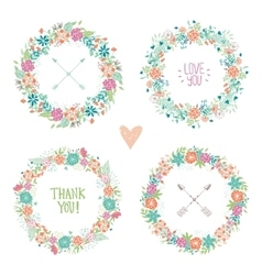 Wedding vintage elements collection vector