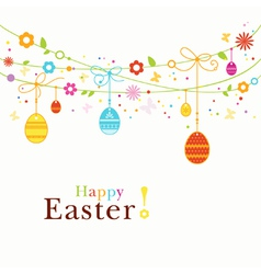 Colorful happy easter border vector