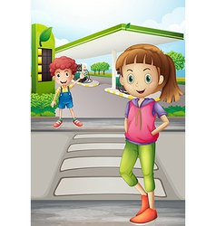 A girl and a young boy near the gasoline station vector image vector image