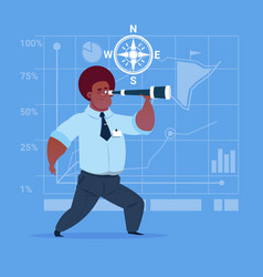 African american business man with binoculars vector