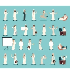 Arab businessman character icons set retro vintage vector