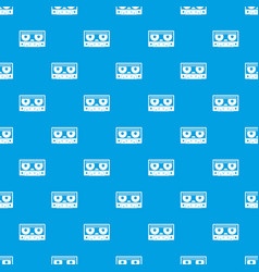 Audio cassette tape pattern seamless blue vector