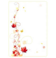 Autumn background with red orange maple leafs vector