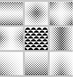 Black and white curved shape pattern set vector