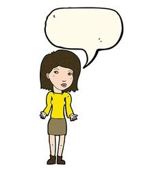 Cartoon woman shrugging shoulders with speech vector