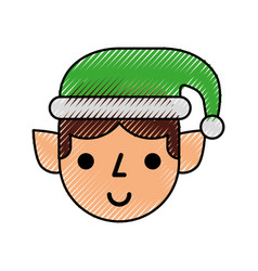Christmas elf cartoon character santa helper vector