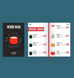 Colorful japanese bar menu template vector