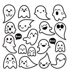 Cute ghosts icons halloween design set ka vector