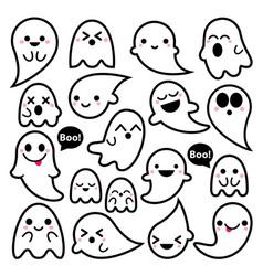 cute ghosts icons halloween design set ka vector image