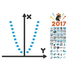 Dotted parabola plot icon with 2017 year bonus vector