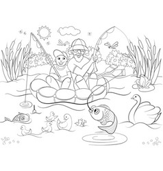 Fishing father and son on the river coloring for vector