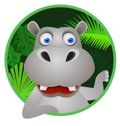 funny hippo vector image
