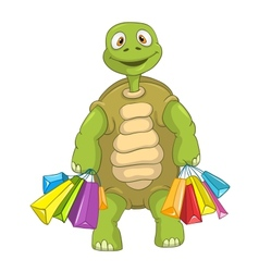 Funny Turtle Shopping vector image vector image