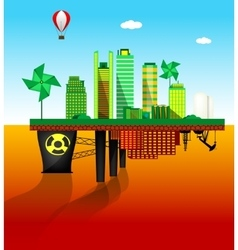Green and polluted cities vector