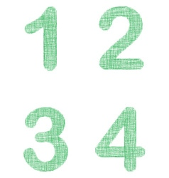Green fabric font set - numbers 1 2 3 4 vector