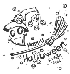 Halloween doodles - Ghost on broomstick vector image vector image