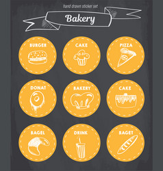 Hand drawn bakery icon set blackboard with chalk vector